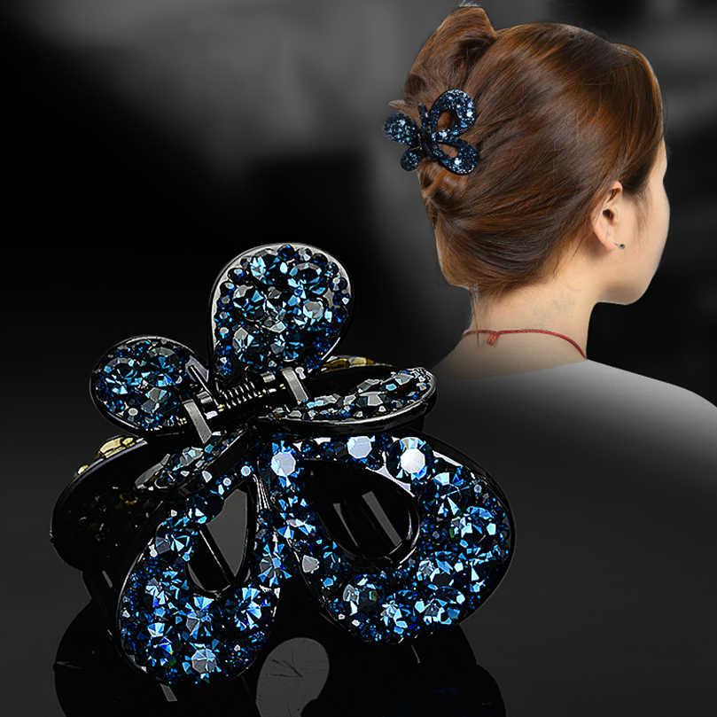 AWAYTR lüks tam parlak Rhinestone saç pençe kadın çiçek kristal saç yengeç kızlar tokalar bayanlar saç aksesuarları takı