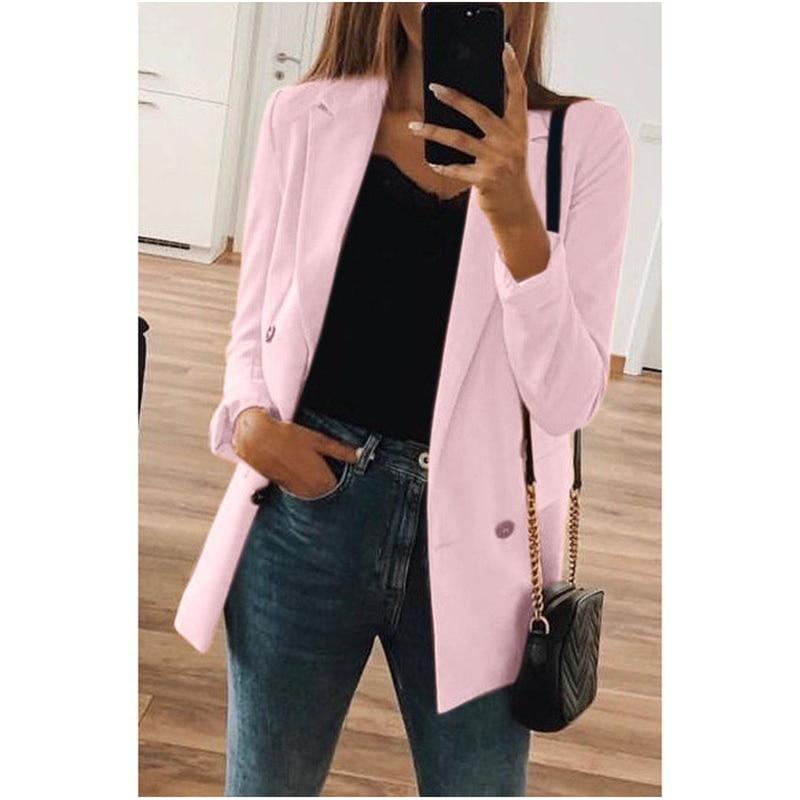 Fashion Autumn Women Blazers Formal Slim Suit Blazer Coat Female Casual Jacket Long Sleeve Button Lady Blazers Solid Work Wear