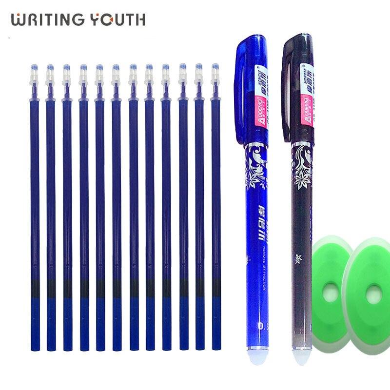 25pcs Kawaii Erasable Pen 0.5mm Blue Black Gel Pen Refill Washable Pen Rods For Handle Office School Stationery