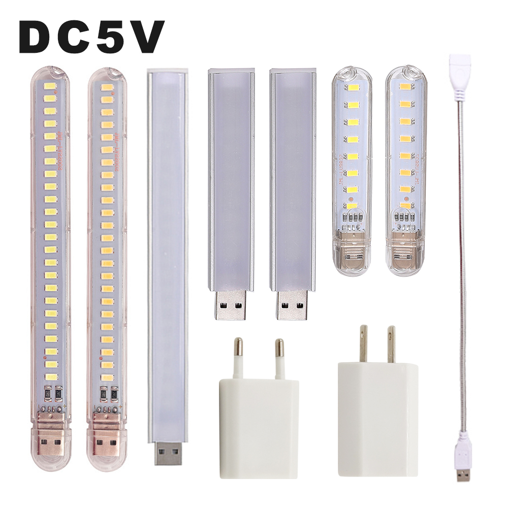 DC 5V Mini LED Night Light Portable 10LEDs 24LEDs USB Reading Table Lamp Bendable Extension Pole US Plug Adapter Book Lights