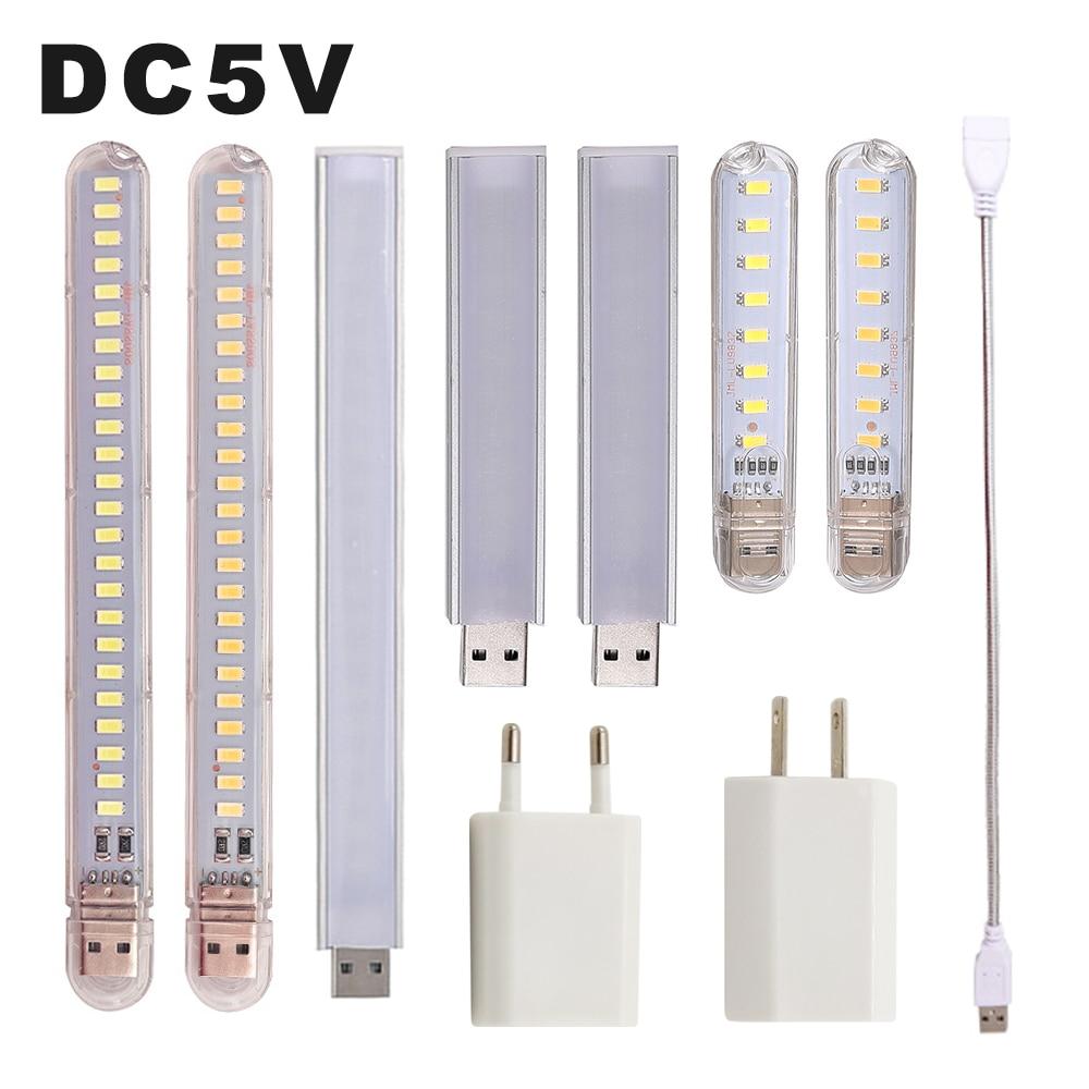DC 5V Mini LED Night Light Portable 10LEDs 24LEDs USB Reading Table Lamp Bendable Extension Pole US Plug Adapter Book Lights