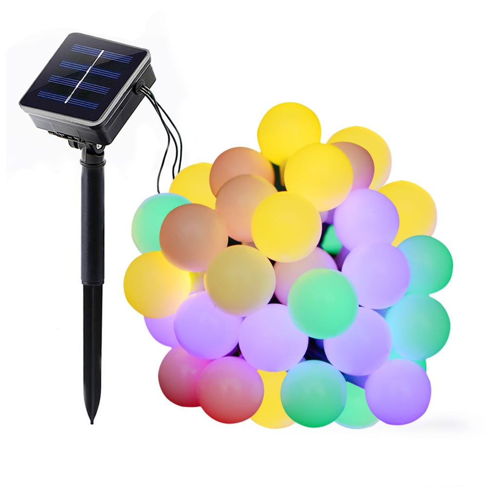 Solar Globe LED String Lights Multicolor 50 LEDs Ball Party Fairy Lights Garden Holiday Wedding Decoration Outdoor Lighting