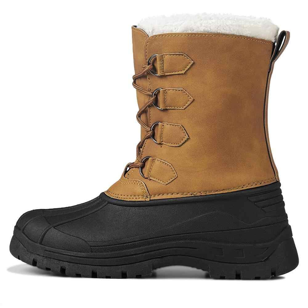 MARSON/мужские зимние ботинки; уличные водонепроницаемые Нескользящие теплые зимние ботинки на меху; мужская обувь на шнуровке; обувь на плоской подошве с нескользящим носком
