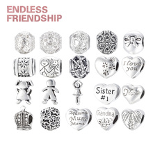 Endless Friendship Free Shipping Antique Silver Love Heart Family Mum Big Hole Beads Charm European Bracelets Accessories