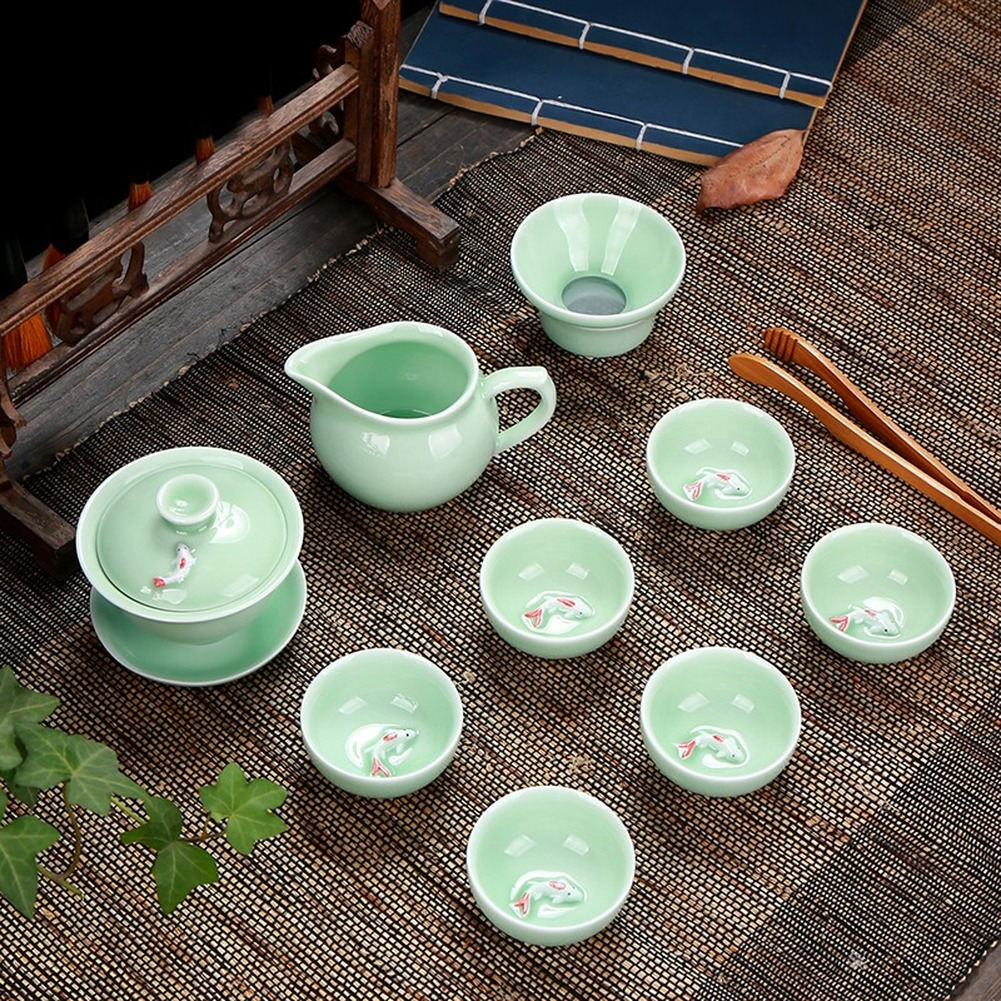 Fish Tea Set Ceramic Kettle Ceramic Gaiwan Tea Cup Fish Chinese Kung Fu Tea Pot Drinkware for Friend Gift Teapot Set