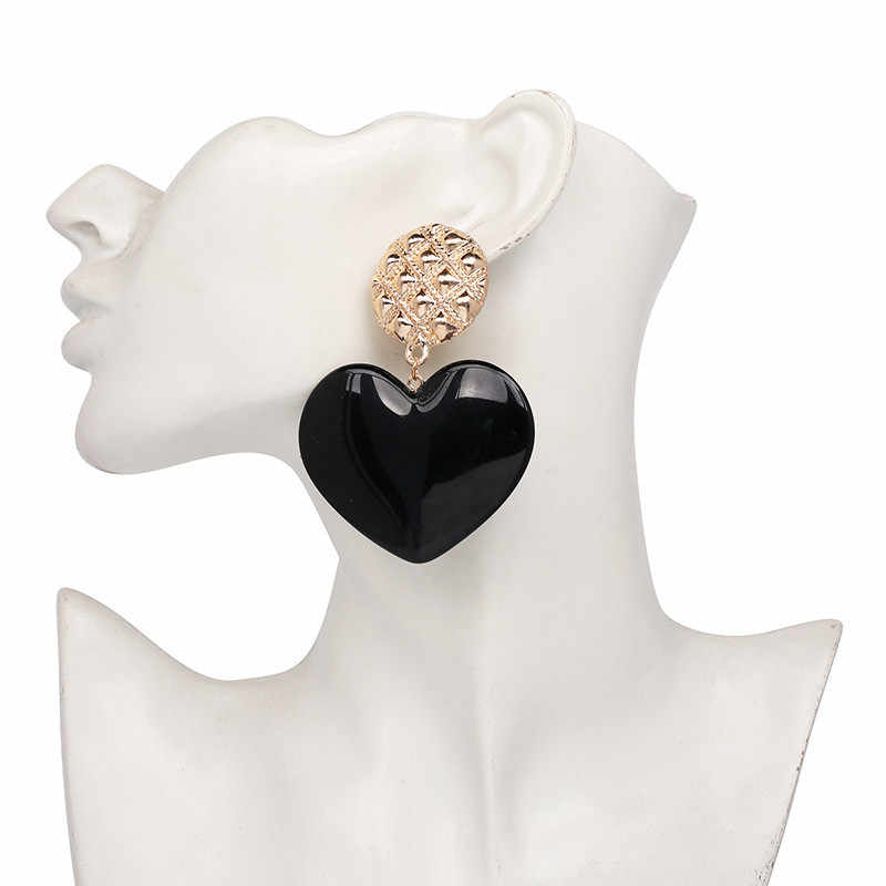 SexeMara 2019 ZA New arrival Big Pink Heart Earrings For Women Vintage Geometric Statement Drop Earrings Boho Ethinc Jewelry
