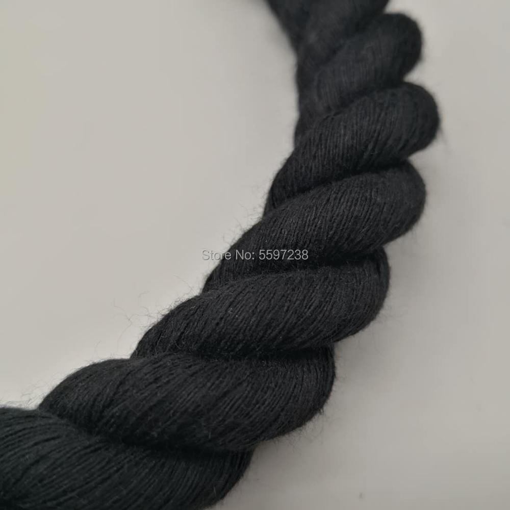Black colour macrame cord cotton rope <font><b>3</b></font> strands 20 mm for home decoration craft art project- <font><b>5</b></font> meters per pack image