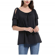 Casual  Women Five Point Sleeve Blouses Off Shoulder Loose Short Butterfly Half Plus Size Blouse