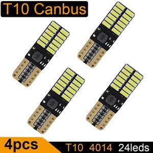 4PCS T10 LED Bulb Canbus 5W5 Car W5W LED Signal Light 12V 6000K License Plate Lights 4014 24SMD White