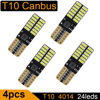 4PCS T10 LED Bulb Canbus 5W5 Car W5W LED Signal Light 12V 6000K License Plate Lights 4014 24SMD White 10pcs car lights t10 led clearance lights w5w parking bulb white 6000k crystal blue 192 168 indoor light 12v car accessories