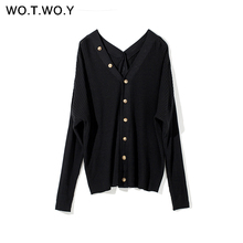 Cardigans Women Sweaters Button V-Neck Knitted Cashmere Casual Striped Winter New Autumn