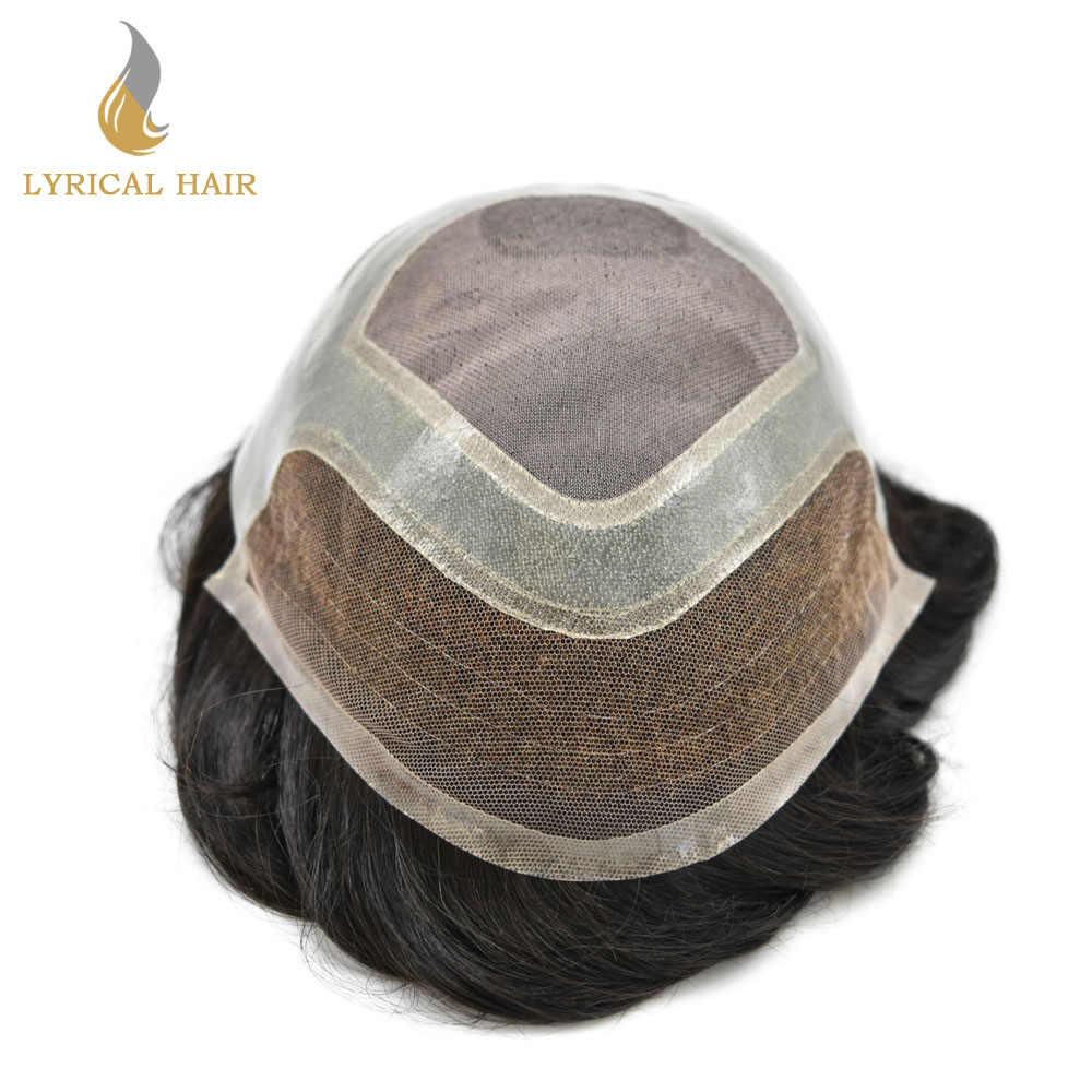 Francés de encaje frente hombre tupé bien Mono pelo sistema 1B # humano negro Natural peluca línea del cabello Invisible de la piel de reemplazo