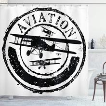 Vintage avión ducha cortina Grunge estilo sello diseño con palabra Aviación y avión Silhouettes tela baño decoración conjunto