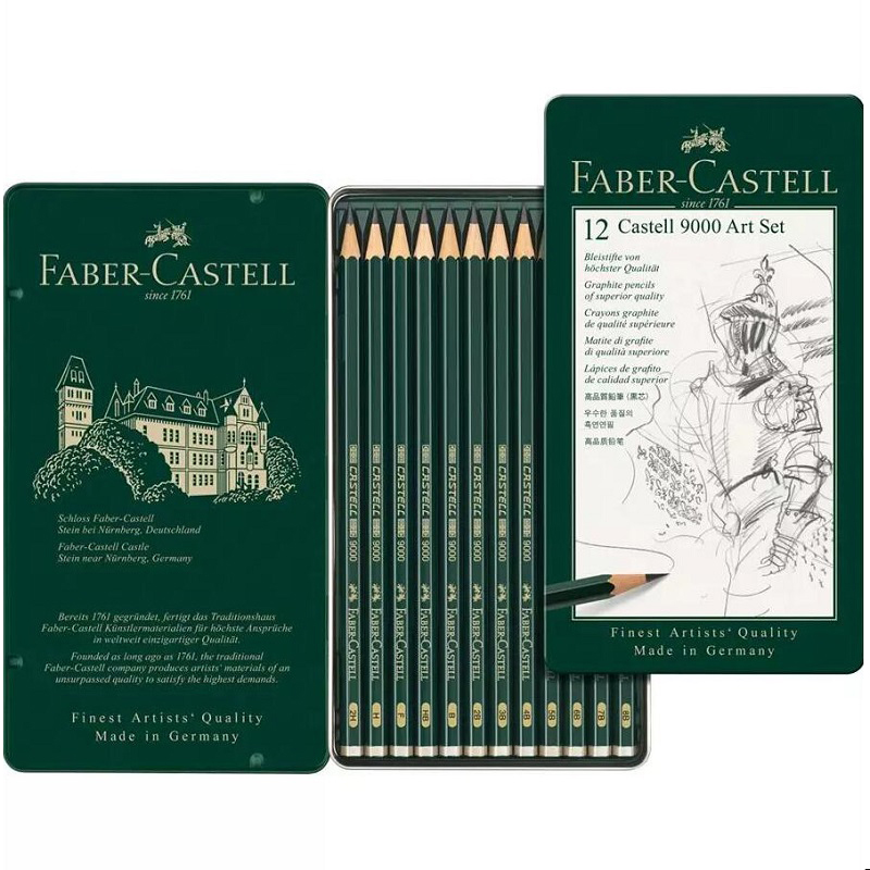 Faber Castell 9000 Art Set Tin of 12 pieces Pencils Professional Sketching Drawing Pencils 8B 7B 6B 5B 4B 3B 2B B HB F H 2H