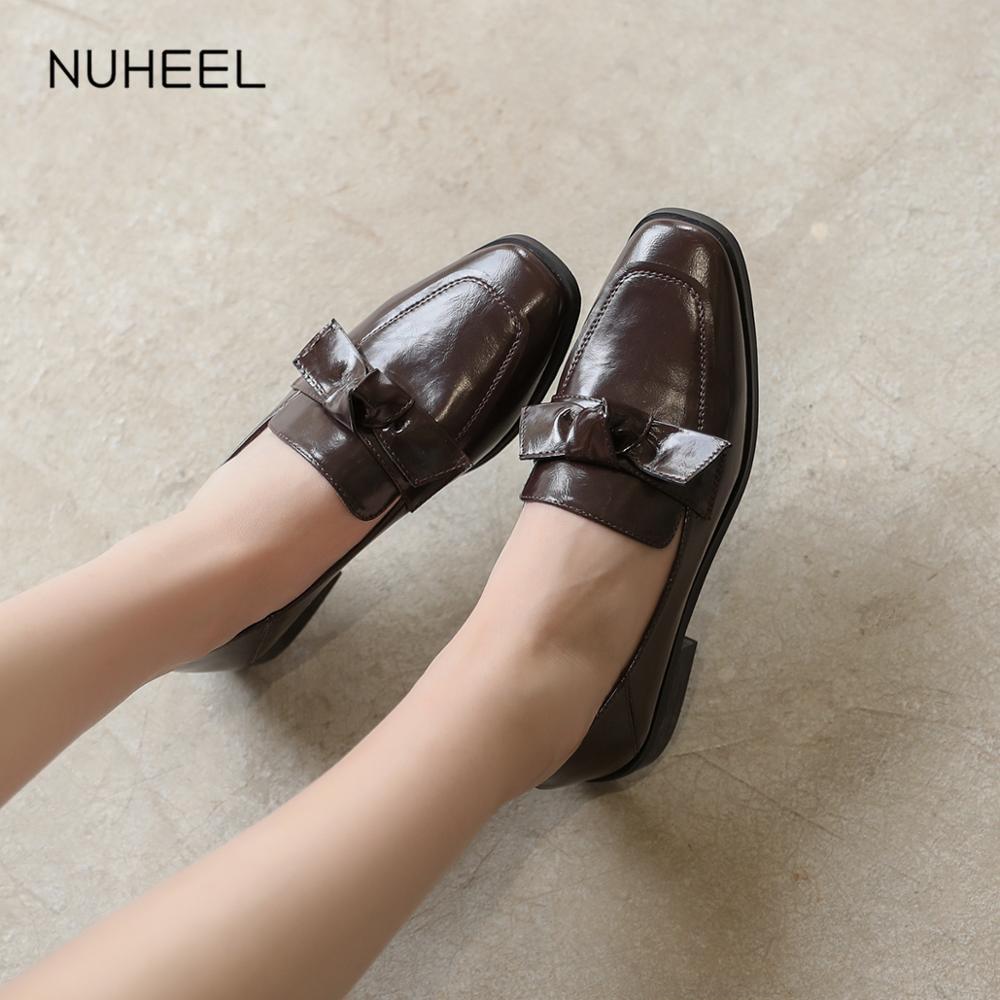 NUHEEL Women's Shoes Korean Version Of The British Style Slip Feet Casual Beanie Shoes Retro Shoes Women