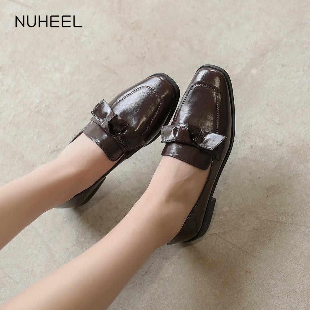Nuheel Vrouwen Schoenen Koreaanse Versie Van De Britse Stijl Slip Voeten Casual Beanie Schoenen Retro Schoenen Vrouwen