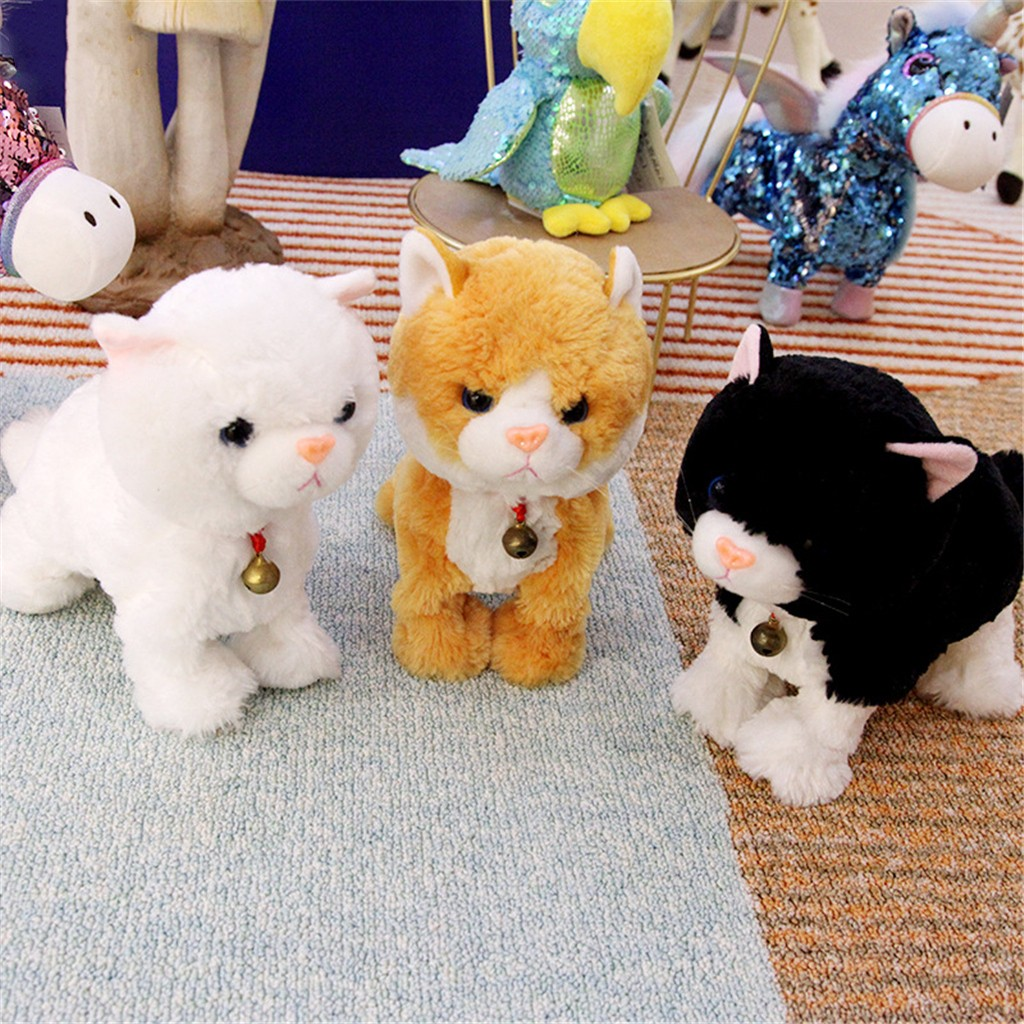 Plush Electronic Cat Stand Walk Sound Control Interactive Robot Kids Toy Gifts