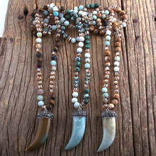 RH Fashion Bohemian Jewelry Natural Stones Pave Stone Ox Horn Pendant Necklaces Women Lariat Necklace Dropshipping