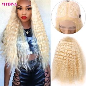 Image 1 - Middle Part 613 Blonde Lace Front Wig Brazilian Deep Wave Lace Wig Transparent Lace 13x1 Lace Front Human Hair Wig Remy Lace Wig
