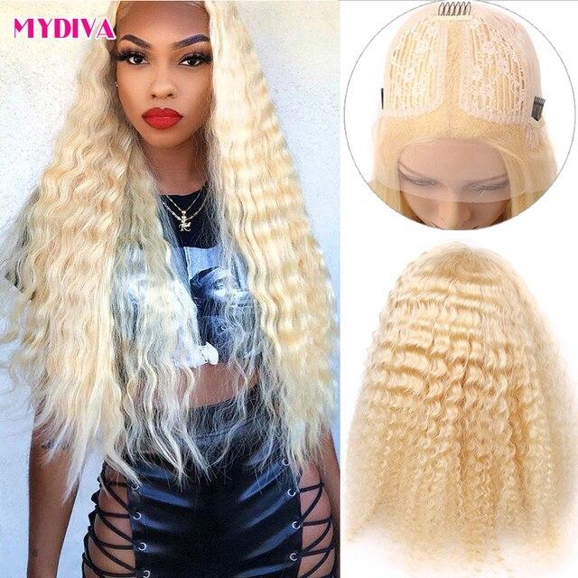 Middle Part 613 Blonde Lace Front Wig Brazilian Deep Wave Lace Wig Transparent Lace 13x1 Lace Front Human Hair Wig Remy Lace Wig