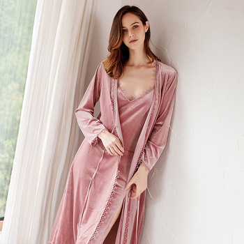 Pajamas for Women 2019 Gold Velvet Pajamas Autumn and Winter Korean Sexy Nightdress Nightgown Trousers Four Sets of Home Clothes
