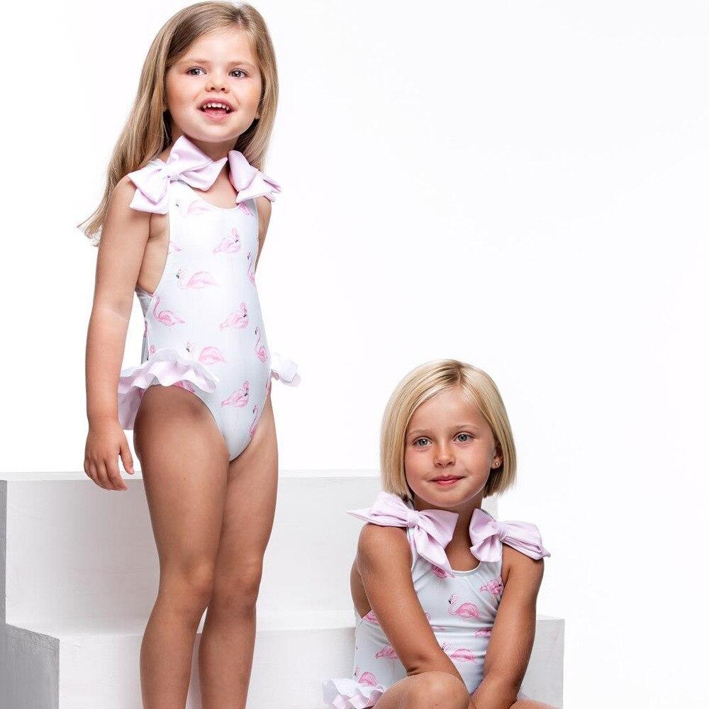 2019 KID'S Swimwear Women's One-piece Girls Light Pink Flamingo Bathing Suit Bow Camisole One-piece Triangular Bathing Suit
