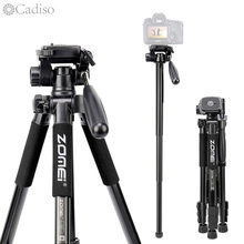 Tripé profissional para câmera dslr cadiso q222, suporte fotográfico flexível para viagem, com monopé