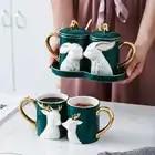 Cartoon deer schönheit Keramik kaffee becher kreative reise becher kaffee tasse emaille becher Geschenk Box Mit Deckel Europa weihnachten tassen 50mk56 - 2