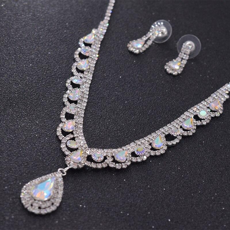 Collar de Moda para mujer de boda con diamantes de imitación Pulsera Anillo Pendientes Joyería Set BT