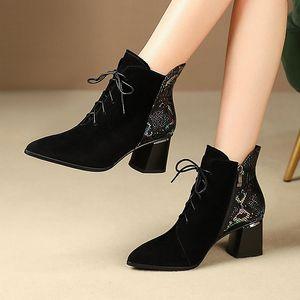 Image 2 - ALLBITEFO ファッションブランドハイヒールの女性のブーツ本革の厚さのヒール女性のための革冬の雪の靴