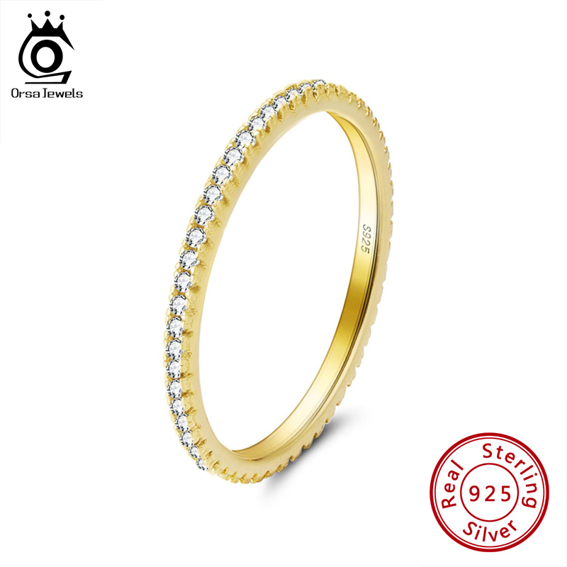 ORSA JEWELS Genuine 925 Sterling Silver Stackable Ring CZ Eternity Finger Rings For Women Wedding Anniversary Jewelry SR63-W