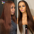 Bone Straight Closure Lace Human Hair Wigs Pre Plucked Brown Color Straight 13x1 T Part Lace Wig Brazilian Remy Hair For Women
