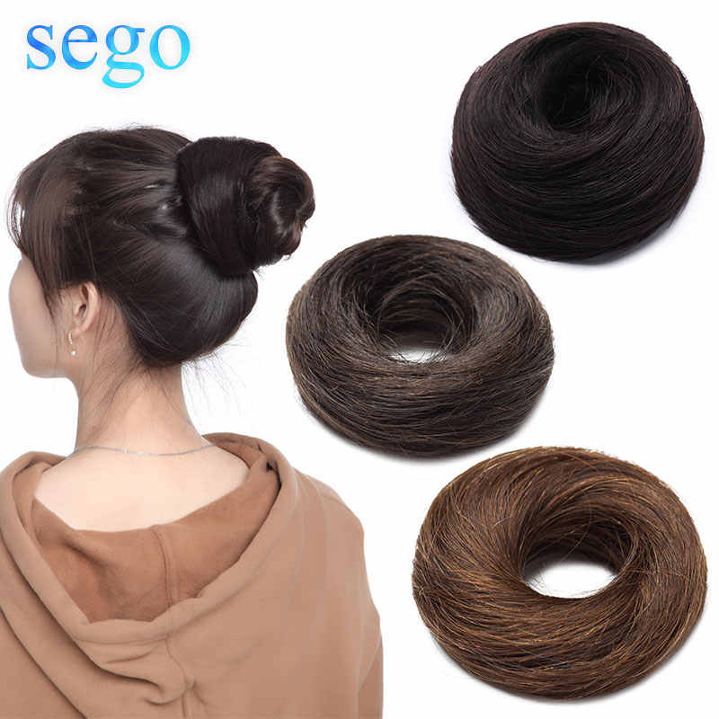 Sego 23G 100% Rambut Manusia Asli Lurus Donat Sanggul Warna Murni Tidak Remy Karet Gelang Sanggul Palsu 6 warna Tersedia