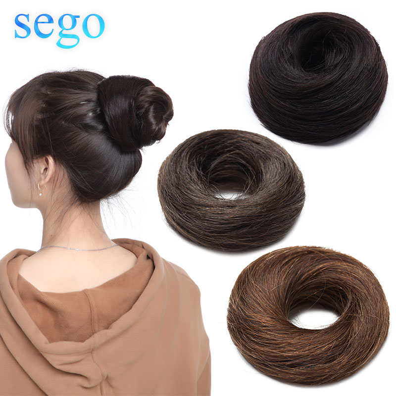 Sego 23g 100% Real Human Hair Straight Donut Chignon Pure Color Non-Remy Rubber Band Chignon Hairpiece 6 Colors Avaliable
