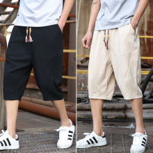 Summer flax 7-minute trousers mens shorts Korean version trend leisure loose Chinese wind cotton 6-minute thin