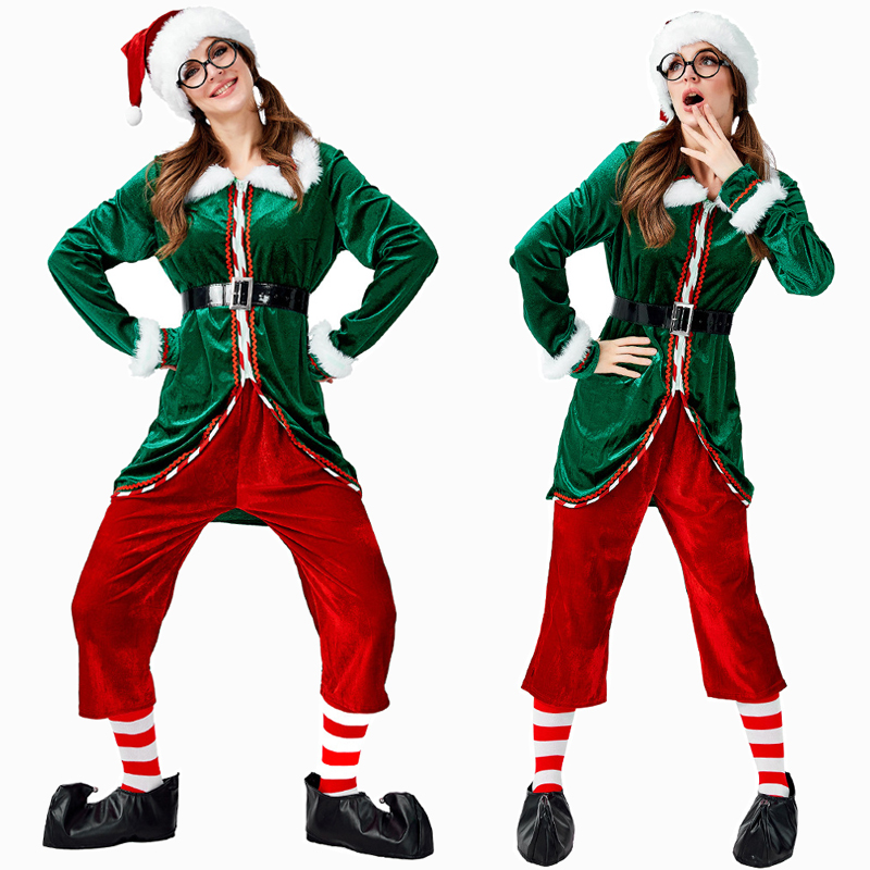 Deluxe Women Green Christmas Elf Costume Cosplay Halloween Costume For Adult Carnival Party Suit