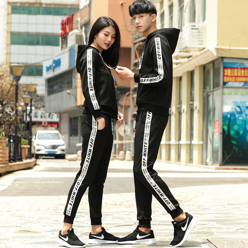 Sports Set Men's Spring And Autumn Couples Two-Piece Casual MEN'S Hoodie Sportswear Women's Running Sports Clothing Set Men's