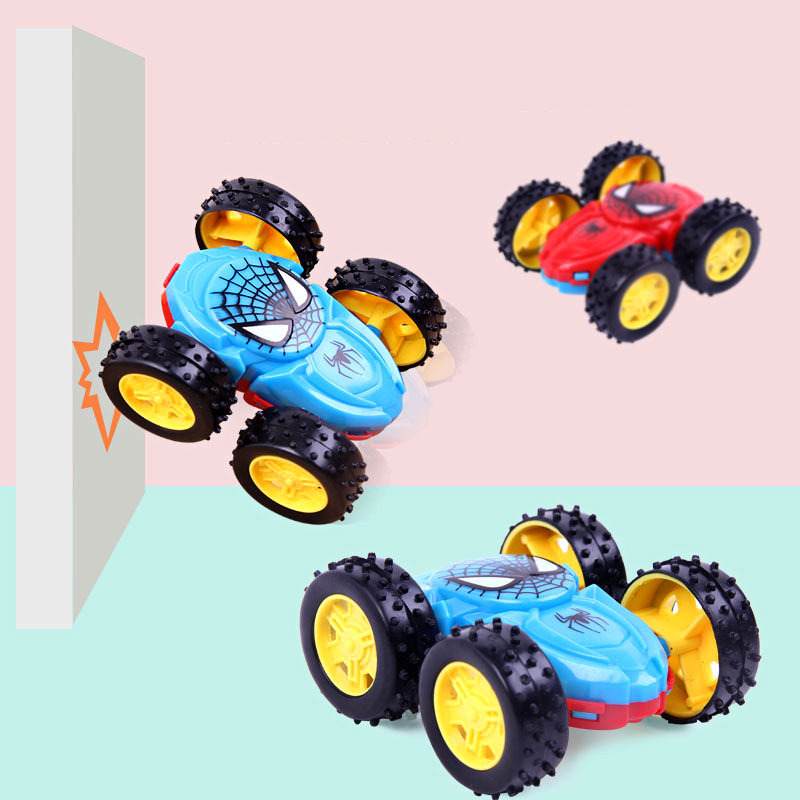Creative Double-sided Dump Truck Inertial Car Toys Mini Spiderman Pull Back Car 360 Rotation Resistance Vehicles Children Gifts