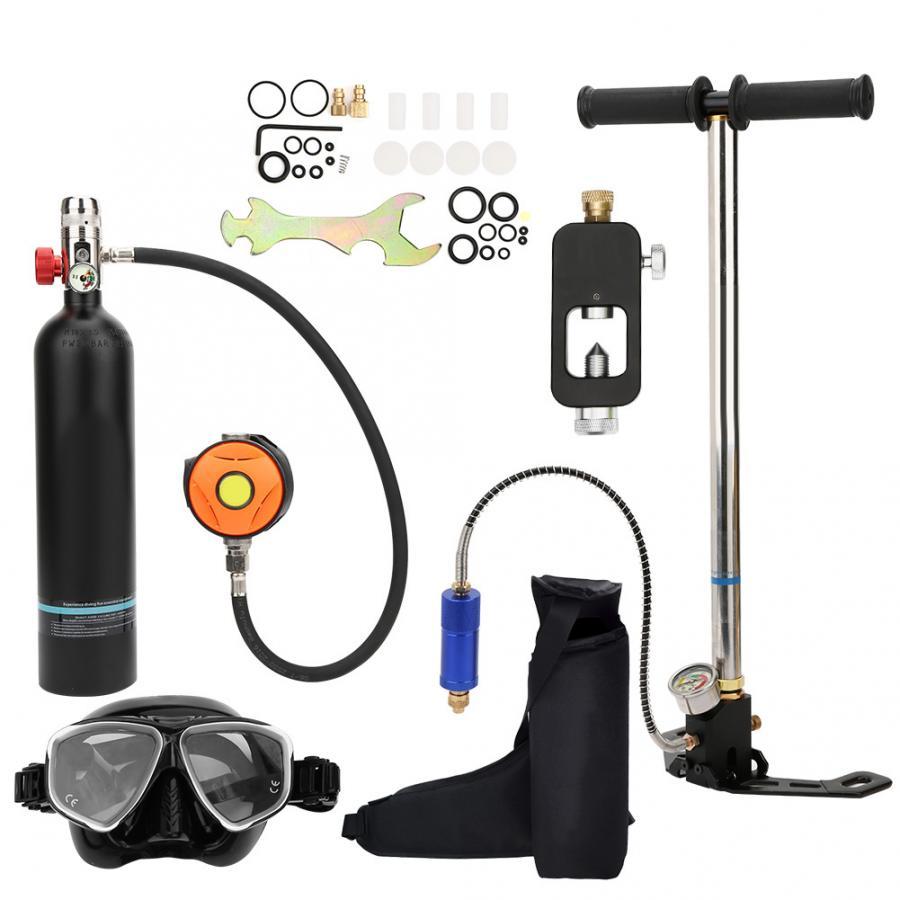 Image 2 - 1L Diving Oxygen Cylinder with Valve Inflator Goggles Kit Scuba Diving Cylinder Underwater Respirator Snorkeling Oxygen TankSnorkels   -