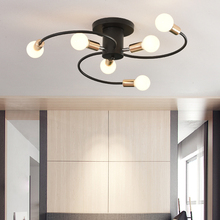 Nordic Magic Bean Molecular Chandelier lamp Semi-Embedded Ceiling Chandelier Black Lighting 6 Head Lights Modern Home Decoration