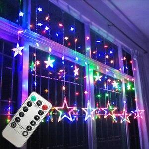 Светодиодный светильник в виде звезды пентаграммы, занавеска, светильник s, сказочный, Свадебный, день рождения, Рождество, домашний декорат...