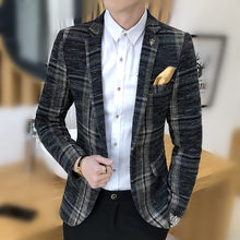 2020 New Clothing Jacket Men's Plaid Suit Jacket Men Blazer Fashion Slim Male Casual Blazers Men Plus Size M-5XL