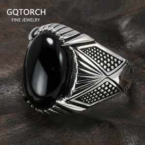 Image 1 - Guaranteed 925 Sterling Silver Rings Antique Turkey Ring For Men Black Ring With Stone Natural Onyx Turkish Male Jewelry
