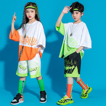 Kid Cool Hip Hop Clothing Graphic Tee Oversized T Shirt Top Streetwear Summer Shorts for Girl Boy Jazz Dance Costume Set Clothes