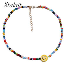 Boho Long Bead Necklaces Smiley Face Choker Necklace Women Resin Multi Color Jewelry Bestfriend Gifts stylish smiley face lace choker necklace
