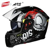 AIS 2019 Motorcycle Helmet Motorbike Motocross Moto Helmet Crash Helmet Scooter Riding Full Face Helmets Casco Double Lens##