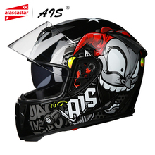 AIS 2019 motosiklet kask motosiklet Motocross Moto kask kask Scooter sürme tam yüz kaskları kasko çift Lens # #