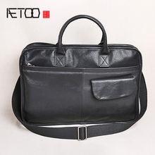 Мужская сумка aetoo из воловьей кожи простая первого слоя портфель