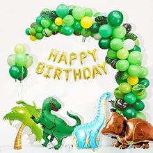 95 pçs dinossauro festa suprimentos kit para crianças favor dino festa de aniversário decorações garland arco kit balões dinossauro bolo topper