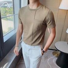 Di alta Qualità di Estate T Camicia Degli Uomini di Modo 2020 Solido Manica Corta Mens Casual T Shirt Slim Fit O Collo Lavorato A Maglia Tee Shirt homme 3XL